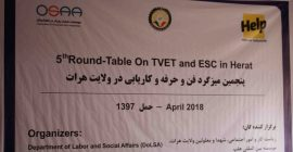 Fifth TVET and EESC Round-Table in Herat